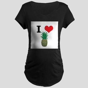 I Heart (Love) Pineapple Maternity Dark T-Shirt