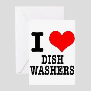I Heart (Love) Dish Washers Greeting Card