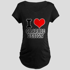 I Heart (Love) Graphic Design Maternity Dark T-Shi