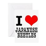 I Heart (Love) Japanese Beetl Greeting Cards (Pk o