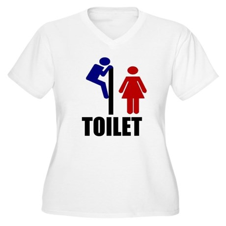 Toilet Peek Women's Plus Size V-Neck T-Shirt