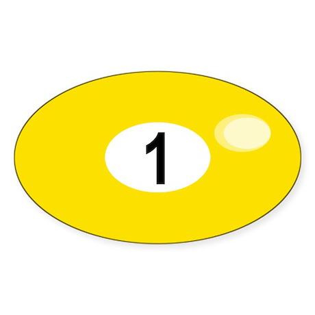 BILLIARD BALL 1 Oval Sticker