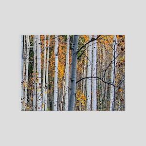 autumn colors birch tree 5'x7'Area Rug