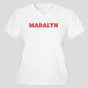 Retro Madalyn (Red) Women's Plus Size V-Neck T-Shi