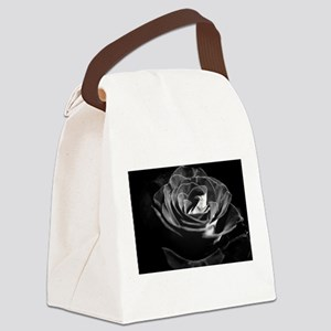 Dark Black and White Rose Canvas Lunch Bag