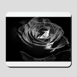 Dark Black and White Rose Mousepad