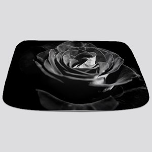 Dark Black and White Rose Bathmat