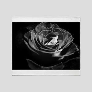 Dark Black and White Rose Throw Blanket