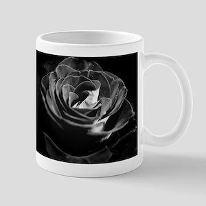 Dark Black and White Rose Mugs