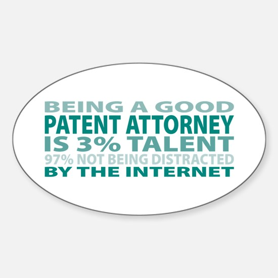 Good Patent Attorney Oval Decal