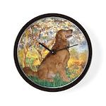 Spring / Golden Retriever (#12) Wall Clock