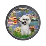 Lilies #2-White Poodle Wall Clock