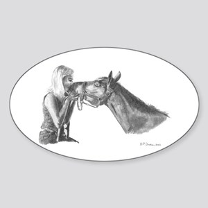 Horse Kisses Oval Sticker