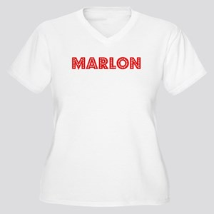 Retro Marlon (Red) Women's Plus Size V-Neck T-Shir
