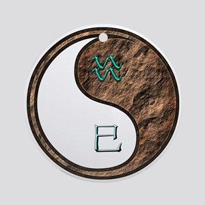 Aquarius & Earth Snake Round Ornament