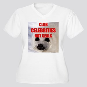Club Celebrities Design Women's Plus Size V-Neck T