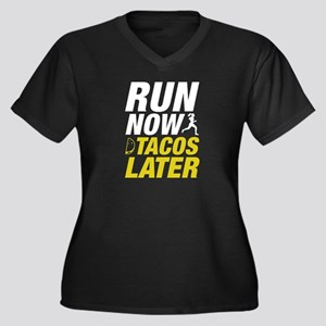 Run Now Tacos Later Women's Plus Size V-Neck Dark