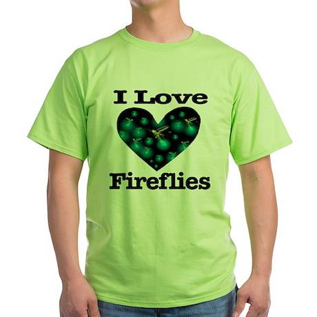 I Love Fireflies Midnight Hea Green T-Shirt