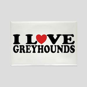 I Love Greyhounds Rectangle Magnet
