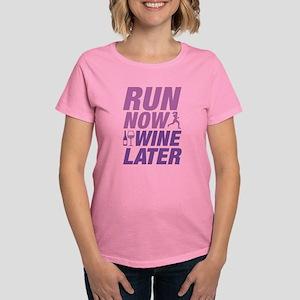 Run Now Wine Later Women's Dark T-Shirt