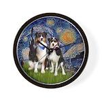 Starry Night/2 Aussies (tri)Wall Clock