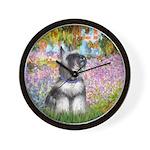 Monet's Garden / Schnauzer #7C Wall Clock