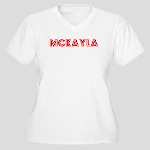 Retro Mckayla (Red) Women's Plus Size V-Neck T-Shi