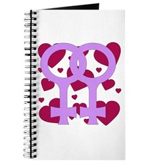Lesbian Marriage Hearts Journal