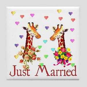 Wedding Giraffes Tile Coaster