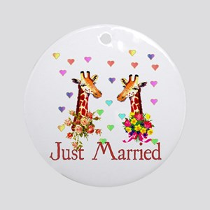 Wedding Giraffes Ornament (Round)