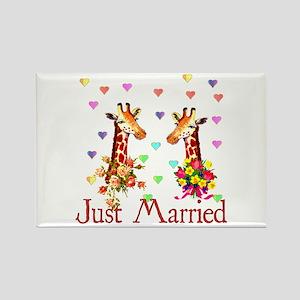 Wedding Giraffes Rectangle Magnet