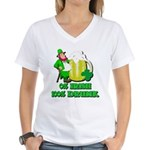 0% Irish 100% Drunk Women's V-Neck T-Shirt