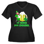 0% Irish 100% Drunk Women's Plus Size V-Neck Dark
