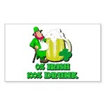 0% Irish 100% Drunk Rectangle Sticker