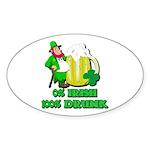 0% Irish 100% Drunk Oval Sticker (50 pk)