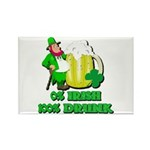 0% Irish 100% Drunk Rectangle Magnet