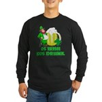 0% Irish 100% Drunk Long Sleeve Dark T-Shirt