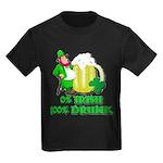 0% Irish 100% Drunk Kids Dark T-Shirt