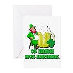 0% Irish 100% Drunk Greeting Cards (Pk of 20)