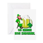 0% Irish 100% Drunk Greeting Cards (Pk of 10)