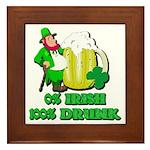 0% Irish 100% Drunk Framed Tile
