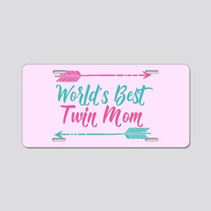 Worlds Best Twin Mom Aluminum License Plate