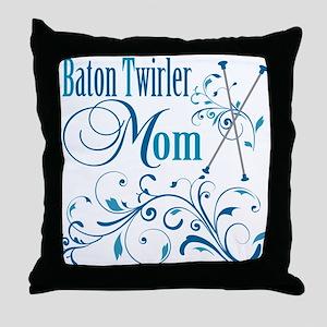 Baton Twirler Mom Throw Pillow