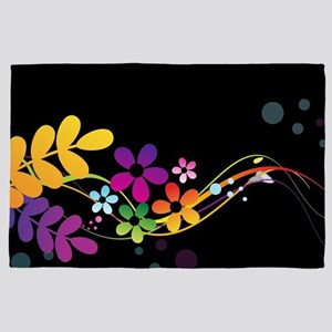 Colorful Cut Paper Flowers and Ferns o 4' x 6' Rug