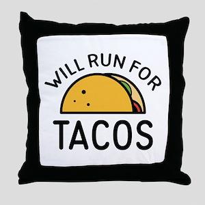 Will Run For Tacos Throw Pillow