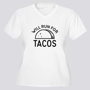 Will Run For Tacos Women's Plus Size V-Neck T-Shir