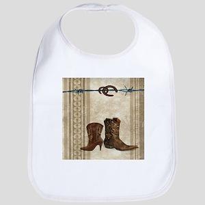 primitive western cowboy boots Baby Bib