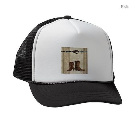 primitive western cowboy boots Kids Trucker hat by ADMIN CP62325139 9278989c126
