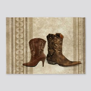 primitive western cowboy boots 5'x7'Area Rug