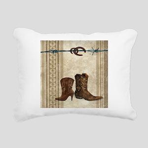 primitive western cowboy Rectangular Canvas Pillow